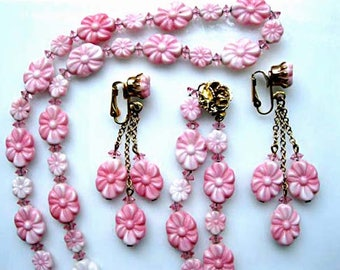 Pink Glass Flower Necklace, Molded Pressed Glass Blossoms, Golden Rose Closure, Swingy Drop Earrings, Informal Wedding