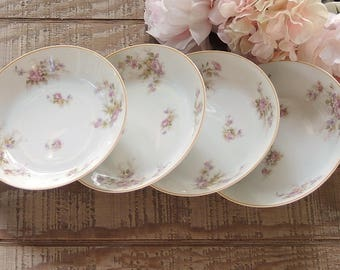 Haviland Limoges Pink Floral Soup Bowls Set of 4 Wedding China Replacement China Ca. 1900s