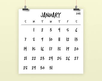Large Number Square 2018 Calendar | INSTANT DOWNLOAD | Simple Monthly Printable Minimal Desk Calender | Prints up to 12 x 12 Inches