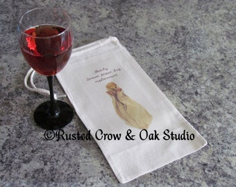 Wine Bag Funny Family Gift for Him Sketchy Paper Bag Replacement Wine Tote A089