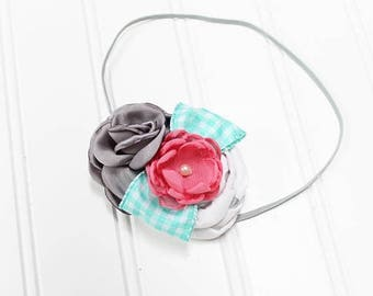 CLEARANCE 40% OFF Darling headband in fun colors of aqua mint, coral pink, silver and grey  (RTS)