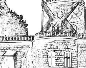 Castle Coloring Page Item 8.  Printable Coloring Page, Instant Download Adult Coloring Page.