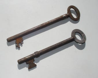 Antique Keys - Long Thin Old Skeleton Door Key -  Pair -  Supplies Collectibles
