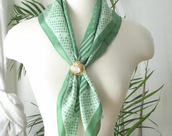 Vintage Green Polka Dot Square Scarf  - Light weight Scarves - Womens Accessories