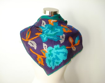 Vintage Green and Purple Square Scarf  - Silk Light weight Scarves - Womens Fall Autumn Accessories 1980s