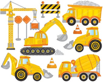 50% OFF SALE Construction Clipart - Vector Construction Clipart, Crane Clipart, Truck Clipart, Digger Clipart, Construction Clip Art