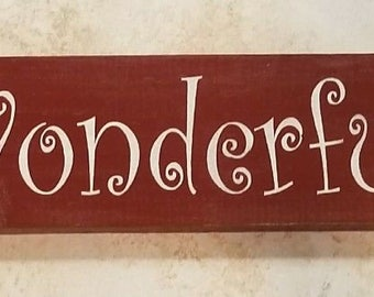 Rustic Wood Sign Home Decor WONDERFUL LIFE red