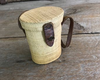 Vintage French Vichy Water Bottle Carrier,  Pilgrimage,Wicker, Glass, Leather Basket