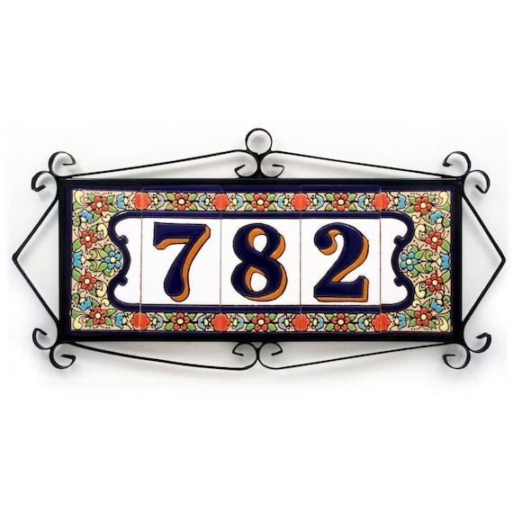 Framed Spanish ceramic tile house number