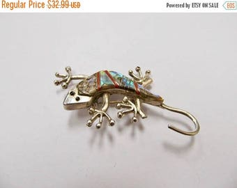On Sale Vintage 925 Silver Abalone Shell and Coral Inlay Gecko Pin Item K # 2867