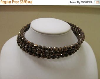 ON SALE Vintage Smokey Copper Colored Facetted Glass Beaded Choker Item K # 2192