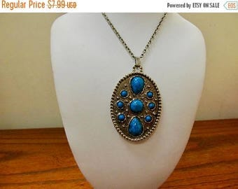ON SALE Vintage Faux Turquoise Medallion Necklace Item K # 1551
