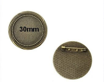 10 supports bronze fancy brooch cabochon 30mm