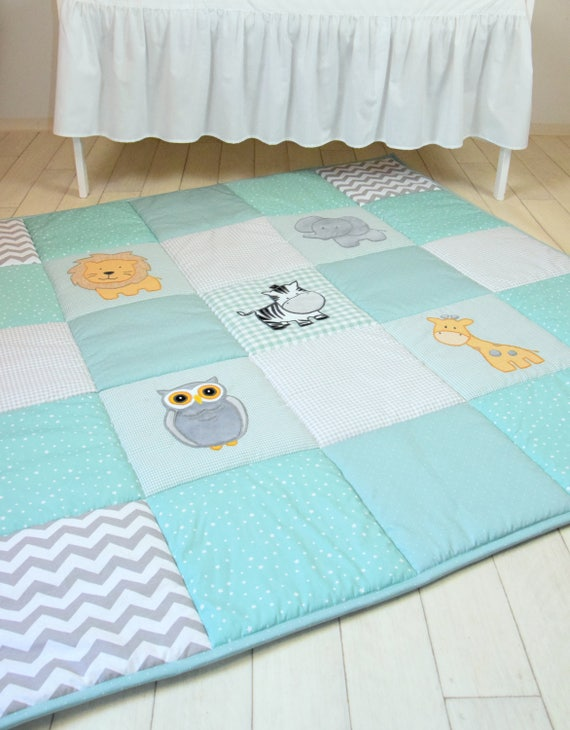 Gray Mint Baby Play Mat, Jungle Baby Mat , Baby Activity Mat, Safari Baby Playmat, Playroom Decor