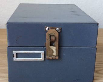 Vintage Modified STEELMASTER Asymmetrical File Box, 3 x 5  Index Card Box, Gray Industrial Decor
