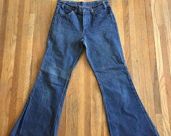 Vintage 70s Orange Tab LEVI'S Bell Bottoms Flare Denim Pants Jeans Hippie Boho 30 X 31