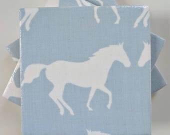 Ceramic Coasters in Anorak Kissing Horses Blue and White