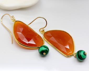 Faced Half Moon Red Agate Dangle Earring