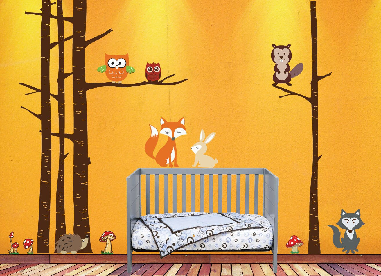 Nursery Birch Tree Wall Decal Woodland Forest with Animals Fox Wolf ...