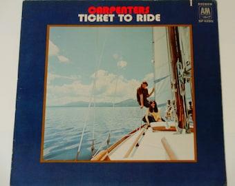"The Carpenters - Ticket to Ride - Debut Album - ""Get Together"" - ""All I Can Do"" - Original A&M Records 1969 - Vintage Vinyl LP Record Album"