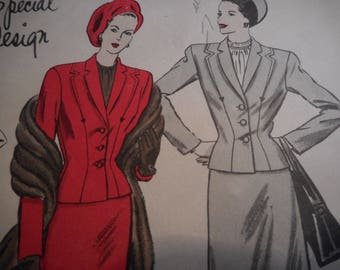 Vintage 1940's Vogue 4689 Special Design Suit Sewing Pattern Size 14 Bust 32