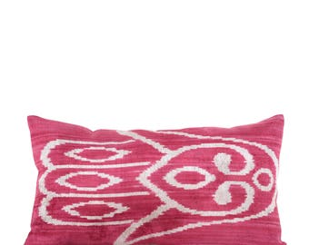"15"" x 25"" Pillow Cover Velvet Ikat Pillow Velvet Pillow Hand Woven Pillow Uzbek Ikat Pillow FAST SHIPMENT with ups or fedex - 10771-04"