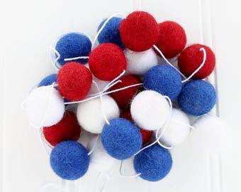 Felt Ball Garland: Patriotic, Pom Pom Garland, 4th of July, American Flag, Patriotic Garland, Independence Day, Red White Blue, Felt Balls