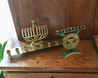 Vintage Brass Menorah, Brass Candelabra, Jewish, Judaica Israel, Religious Candle, Brass Candle Holder, Vintage Candlestick