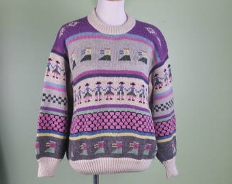 VTG Cozy Knit Sweater - 80s 90s Sweater - Large / XLarge