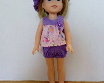 Purple summer shorts, top, and hat American made to fir 14 1/2 inch Wellie Wisher dolls