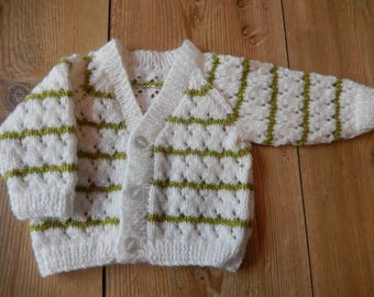 hand knitted baby cardigan, hand knit baby sweater white and green stripes newborn
