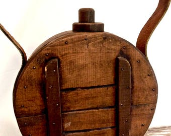 Handmade Wood and Leather Canteen Water Jug Display Prop Camping Decor, Hunting Lodge, Man Cave, Display Only