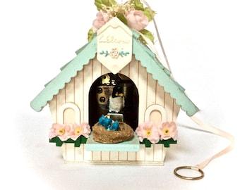 Vintage Music Box Berkley Designs SF Co Birdhouse Mechanical Mother Bird Feeding Babies, Edelweiss