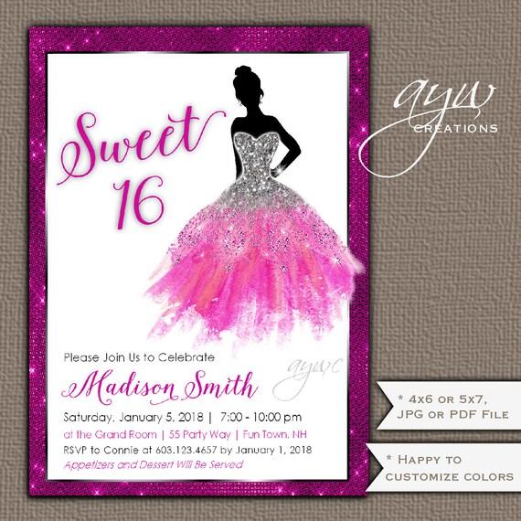 Sweet Sixteen Invitations Dress 16 Birthday Party Invitation