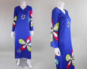 1970's Jersey Maxi Dress with Floral Print
