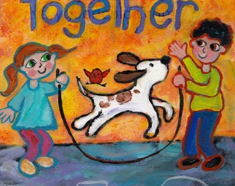 kids jumping rope together dog whimsical painting art print choose your size Peggy Johnson everygoodcolor
