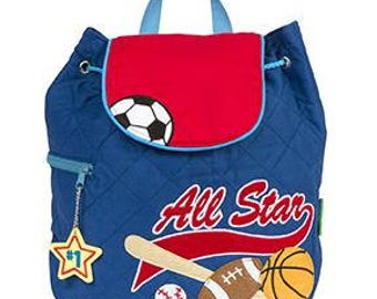 Personalized Stephen Joseph All Star Sports Quilted Backpack