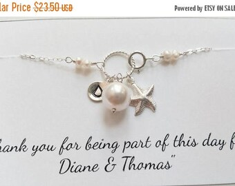 ON-SALE Wedding Gift - Personalized Sterling Silver Charm Bracelet, STARFISH Charm, Bridesmaid Gifts,Flower Girl Gifts, Beach Wedding Theme