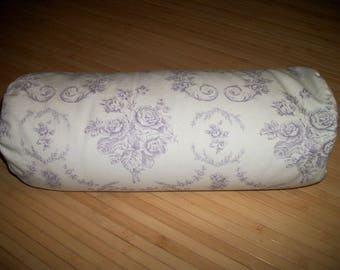 "Home Decor Bolster Pillow. Neck Roll. Cream/Lavender Floral Pillowcase, and UNFILLED insert. Velcro closure. 18"" x 6"".  Handmade USA"