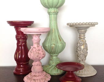 Cranberry/PInk/Pistachio Baroque Candle Holders, Set of 5 Pillar Holders, Cottage Chic French Inspired Table Top Candle Holder