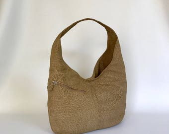 Suede Camel Leather Hobo Bag with Outside Pockets, Trendy Slouchy Shoulder Purse, Boho Chic Bags Alicia