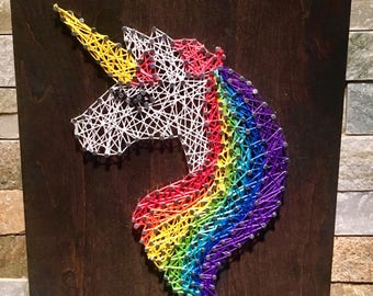 Unicorn String Art 8x10""