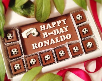 Soccer Lovers Chocolate Gift - Personalized Soccer Chocolate Squares - Unique Gift for Him - Birthday Gift