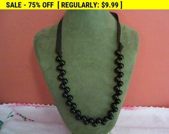 Vintage black bead ribbon necklace, beads, vintage, beaded necklace