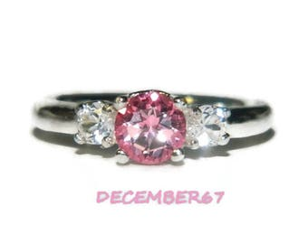 Three Stone Ring, Genuine Pink Topaz Ring, Anniversary Ring, Engagement Ring