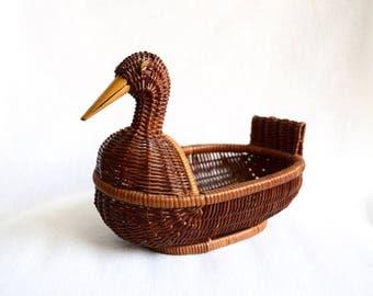 Vintage wicker duck basket…wicker duck planter…wicker duck bowl.