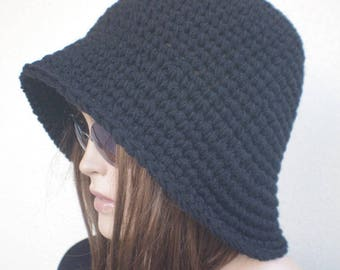 winter hat BLACK hats womens hats brim hat christmas gift  bucket Cloche Women crochet hat  Winter Accessories
