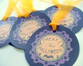 Halloween Tags, Treats For Halloween Gift Tags, Wine Tags, Birthday Gift Bag Tag, Party Gift Tags, Merchandise Tags, Black, Purple, Orange