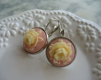 Ivory Rose, Soft Pink Cameo, Floral Earring, Flower Earring, Jewelry, Leverback French Earwires, Vintage Style, Cabbage Rose, Pierced  Ear