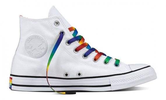 Converse High Top Ladies Men 2017 Rainbow Pride White Custom LGTBQ w/ Swarovski Crystal Rhinestone Bling Chuck Taylor All Star Sneaker Shoe